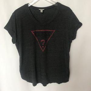 🍍3/$25 Guess Gray Scoop Neck Shirt Tee T-Shirt XL